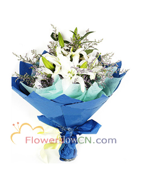 5 white lilies - flowers to China