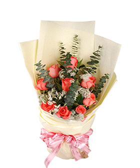 12 pink roses - China flowers