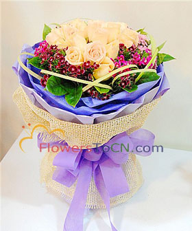 19 champagne roses - China flowers