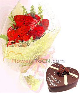 cake and flowers - flowers to China