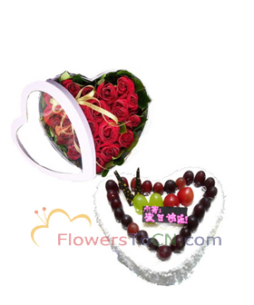33 roses and cake - flowers to China