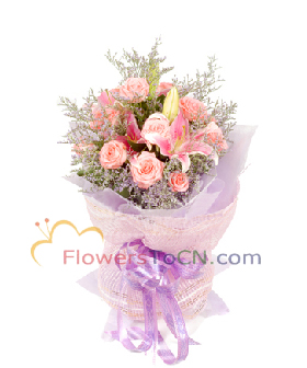 A pink lilies, 12 pink roses - flowers to China