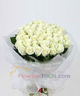 33 white roses - flowers to China