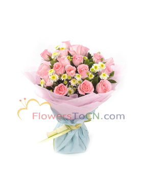 24 pink roses - flowers to China