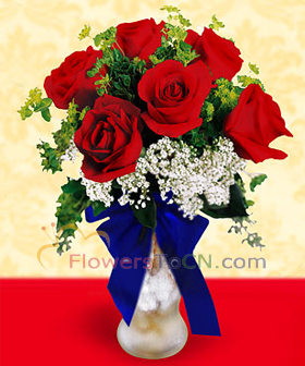9 red roses  - flowers to China