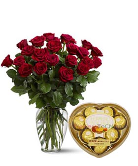 Roses and Chocolate  - flowers to China