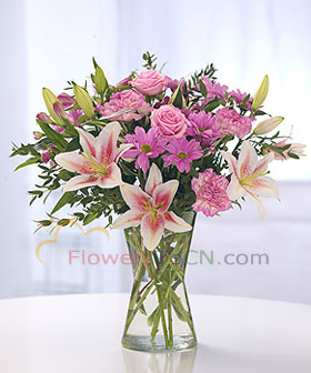 China roses lilies  - flowers to China