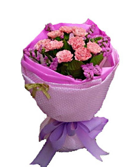 12 pink carnations  - flowers to China