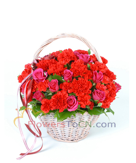 roses and carnations  - flowers to China