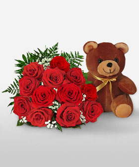 Eternal love - roses and teddy bear